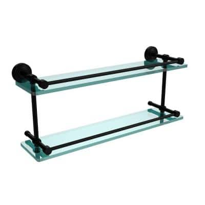 Waverly Place 22 in. L x 8 in. H x 5 in. W 2-Tier Clear Glass Bathroom Shelf with Gallery Rail in Matte Black
