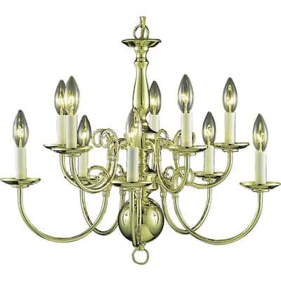 10-Light Polished Brass Interior Chandelier