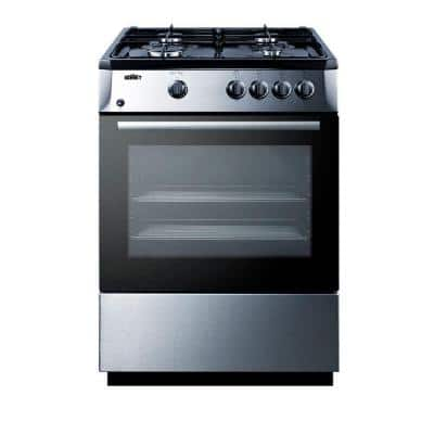 24 in. 2.7 cu. ft. Slide-In Gas Range in Black and Stainless Steel