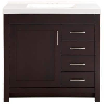 Westcourt 37 in. W x 22 in. D Bath Vanity in Chocolate with Cultured Marble Vanity Top in White with White Sink