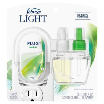 Plug Light 0.87 oz. Bamboo Scent Scented Oil Refill And Oil Warmer Air Freshener Mist