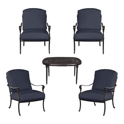 Edington 5-Piece Patio Fire Pit Chat Set with Standard Sky Blue Cushions