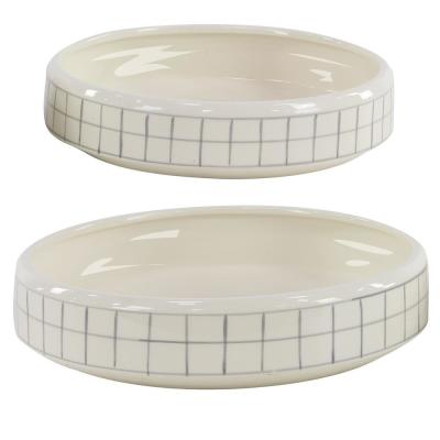 Round 15 in. and 13 in. White Planters with Gray Squares (Set of 2)