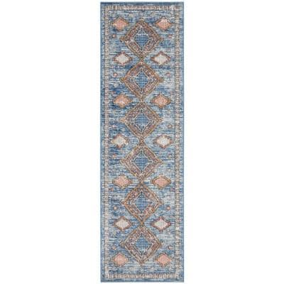 Concerto Blue 2 ft. x 8 ft. Bordered Contemporary Runner Rug