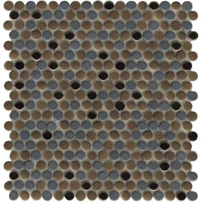Confetti II Metal 11.81 in. x 11.81 in. Penny Glossy and Matte Blend Glass Mosaic Tile (0.969 sq. ft./Each)