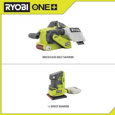 ONE+ 18V Cordless Brushless Belt Sander w/ Dust Bag and Sanding Belt and 1/4 Sheet Sander with Dust Bag (Tools Only)