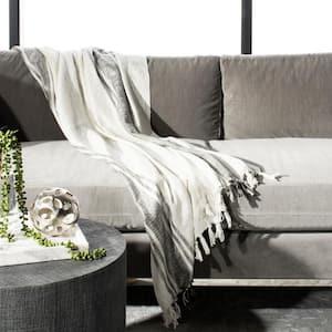 Alita 50 in. x 70 in. White/Gray/Silver Metallic Throw Blanket