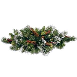 32 in. Wintry Pine Centerpiece with Battery Operated Warm White LED Lights