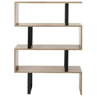 50.4 in. Light Brown Wood 3-shelf Etagere Bookcase with Open Back