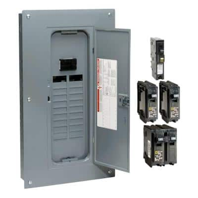 Homeline 100 Amp 20-Space 40-Circuit Indoor Main Breaker Plug-On Neutral Load Center with Cover - CAFI breaker ValuePack