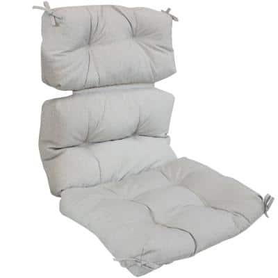 23 in. x 13 in. Tufted High Back Olefin Outdoor Patio Chair Cushion in Gray