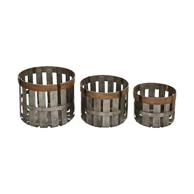 Farmhouse Slotted Galvanized Metal Storage Basket (Set of 3)