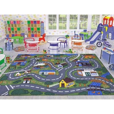 Jenny Collection Grey Road Traffic Design 3 ft. x 5 ft. Non-Slip Kids Area Rug