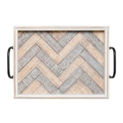 19 in. White Wash Wood Tray