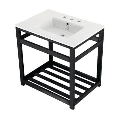 31 in. Ceramic Console Sink (8 in. in 3-Hole) with Stainless Steel Base in Matte Black