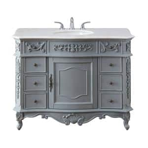 Winslow 45 in. W x 22 in. D Bath Vanity in Antique Gray with Vanity Top in White Marble with White Basin
