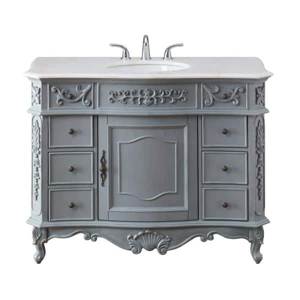 Home Decorators Collection Winslow 45 In W X 22 In D Bath Vanity In Antique Gray With Vanity Top In White Marble With White Basin Bf 27002 Ag The Home Depot
