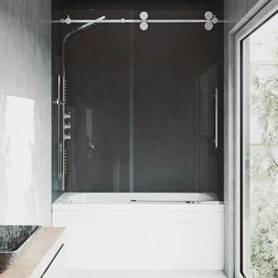 Elan 56 to 60 in. W x 66 in. H Sliding Frameless Tub Door in Chrome with Clear Glass