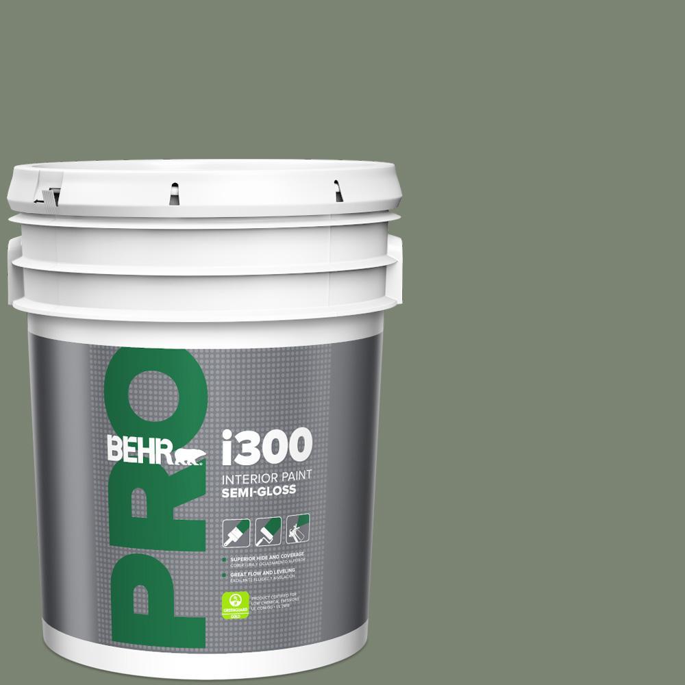 5 gal. #ICC-77 Sage Green Semi-Gloss Interior Paint