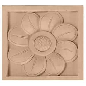 3/4 in. x 3-1/2 in. x 3-1/2 in. Unfinished Wood Maple Medium Sunflower Rosette