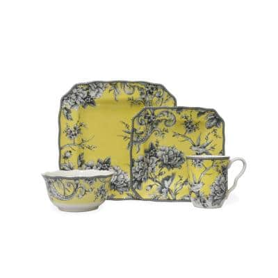 Adelaide 16-Piece Casual Yellow Porcelain Dinnerware Set (Service for 4)