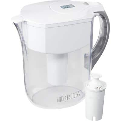Grand 10-Cup Water Filter Pitcher BPA Free in White