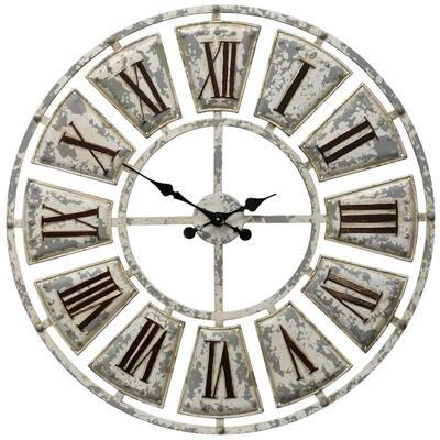 Farmhouse Crackle White, Black, Bronze Analog Clock