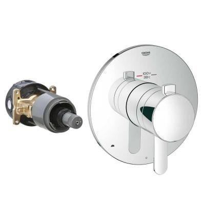 Cosmopolitan Single Handle GrohFlex Universal Rough-In Box Dual Function Thermostatic Kit in Chrome