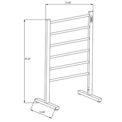 Kiln Series 6-Bar Stainless Steel Floor Mounted Electric Towel Warmer Rack in Brushed Nickel
