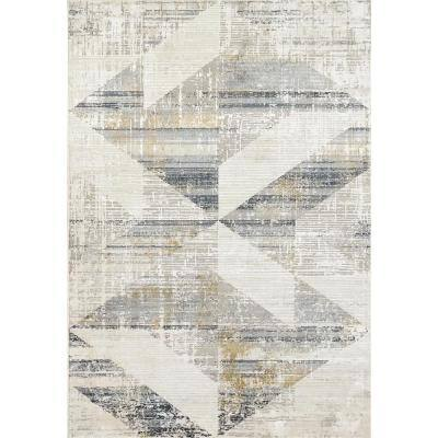 Quartz Ivory/Slate 7 ft. 10 in. x 10 ft. 10 in. Transitional Polyester Area Rug