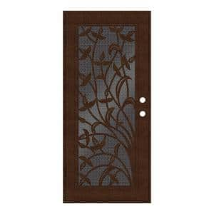 36 in. x 80 in. Yale Copperclad Right-Hand Surface Mount Security Door with Black Perforated Metal Screen