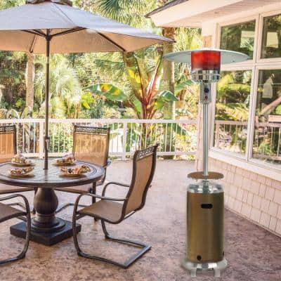 7 ft. 48,000 BTU Bronze and Stainless Steel Umbrella Propane Patio Heater with Weather-Protective Cover