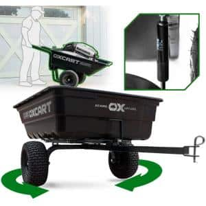 OxCart PRO-Grade Stockman 15 cu ft. - 17 cu ft. Lift-Assist and Swivel Dump Cart w 4PLY Run-Flat Tires