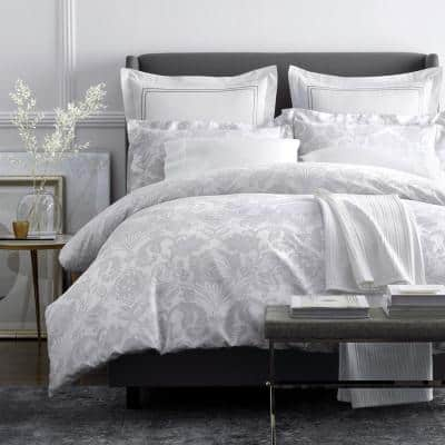 Legends Silver Damask Multicolored Geometric 600-Thread Count Egyptian Cotton Oversized Queen Duvet Cover