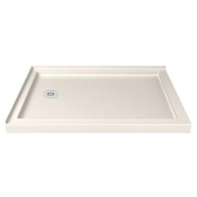 SlimLine 48 in. W x 36 in. D Double Threshold Shower Base in Biscuit with Left Hand Drain