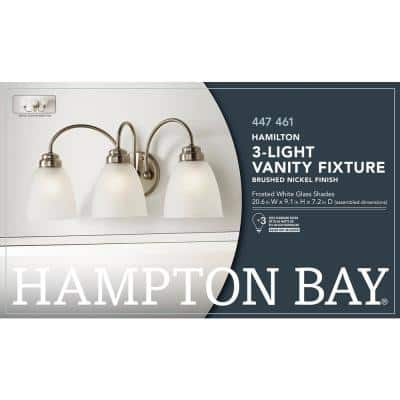 Hamilton 3-Light Brushed Nickel Vanity Light with Frosted Glass Shades