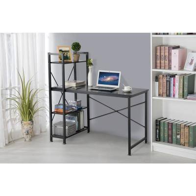 21 in. Rectangular Black Computer Desk with Shelves