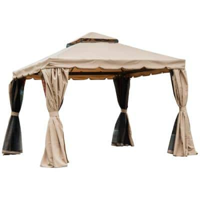 118 in. x 118 in. x 78 in. Steel Frame Patio Gazebo w/ Beautiful Polyester Curtains & Air Venting Netted Screens, Khaki