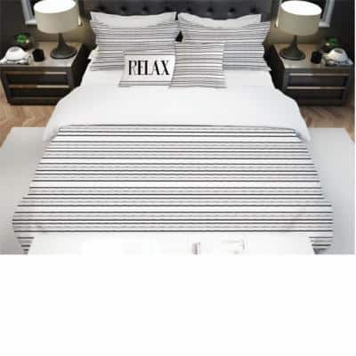 Shelby 5-Piece Black and White Ultra-Soft Microfiber King Comforter Set