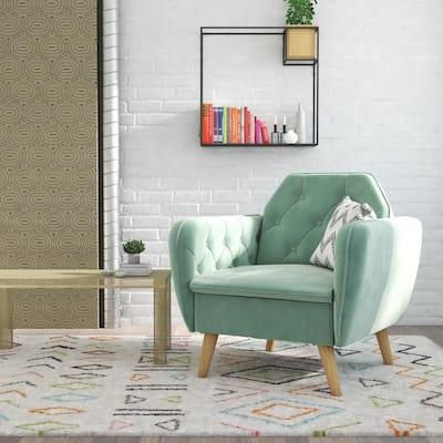 Teresa Light Green Velvet Memory Foam Accent Arm Chair