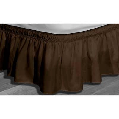 Waldorf Chocolate Twin/Full Microfiber Bed Ruffle Skirt