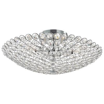 Barclay 16 in. Chrome Crystal Flush Mount