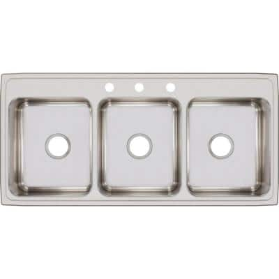 Lustertone Drop-In Stainless Steel 46 in. 3-Hole Triple Bowl Kitchen Sink