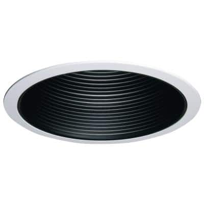 6 in. Black Recessed Ceiling Light Coilex Baffle with White Trim
