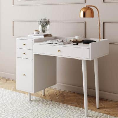 Daisy White and Gold Makeup Desk with 4-Drawers and Brass Accent Knobs Vanity Table