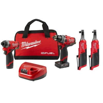 M12 FUEL 12-Volt Lithium-Ion Brushless Cordless Combo Kit (2-Tool) with (1) 3/8 in. and (1) 1/4 in. High Speed Ratchet