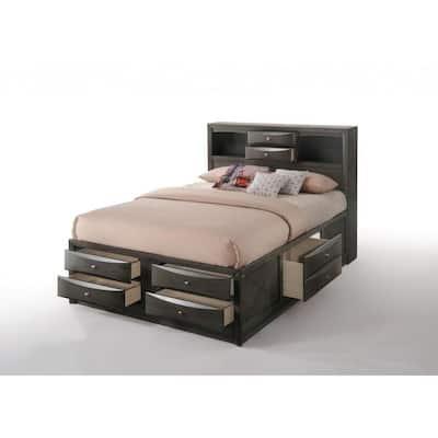 Amelia Oak Rubber Wood Full Bed with Bookcase Headboard
