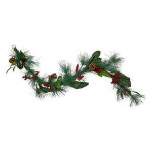 6 ft. Unlit Leaves Berry and Pine Needle Artificial Christmas Garland