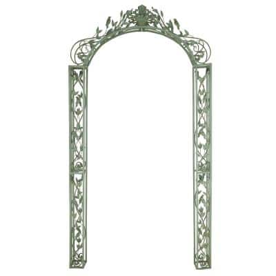 Traditional 93 in. x 10 in. Green Iron Scrollwork and Floral Garden Arched Arbor