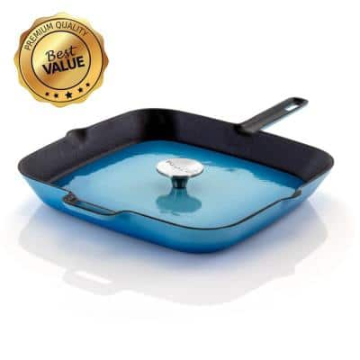 11 in. Cast Iron Nonstick Grill Pan in Blue